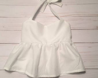 White Peplum Crop Top
