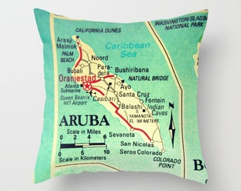 Aruba Pillow Cover 18x18, Aruba Map Pillow, Toss Pillow, Cushion Cover, Vintage Map Cushion, Mom Gifts Ideas,Mom Birthday Gift, Throw Pillow
