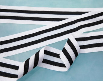 """6 Yards of 1 7/8"""" Vintage Woven Ribbon Trim. Black and White Stripe. Sewing Trim, Embellishments, Applique, Crafts.  Item 4099RT"""