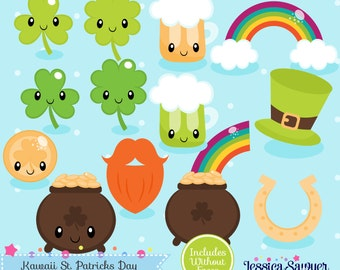 INSTANT DOWNLOAD - Kawaii St. Patricks Day Clipart and Vectors for personal and commercial use