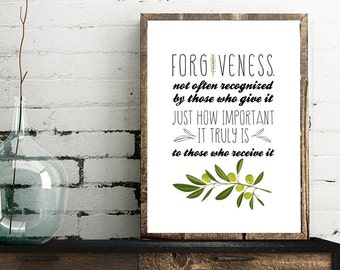 Forgiveness - Olive Branch - Vertical Print - Frame Not Included
