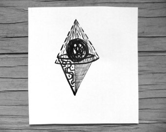 Abstract Drawings- ' 2 Fortune Tellers ' - 2 Drawing Set - Original Drawing
