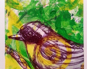 new aceo 1 LINE OSCINE 15 original kimartist animal bird closeup cute little modern pop small songbird tiny green yellow black white sfa