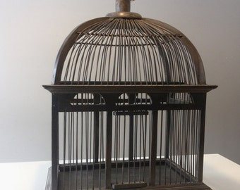 Vintage Birdcage. Birdhouse in Bamboo wood, large