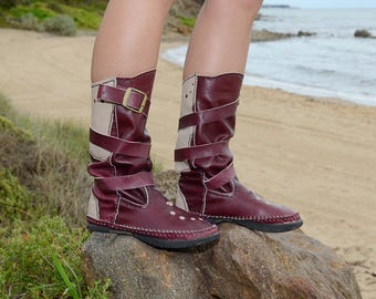 Red Wine and Beige Leather Boots, Steampunk, Festival, Traditional, Burning Man, OOAK, Eco boots, Gypsy, Hippie