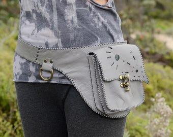 grey leather pocket belt