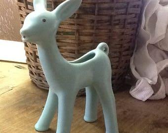 Mid Century Turquoise Ceramic Deer