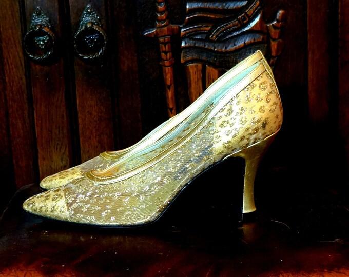 Mesh & Leather Gold Glitter Heels 1960s Stuart Weitzman Vintage Designer Shoes 7 B Narrow Mid Heel Pumps 3 Inch Animal Print Neiman Marcus