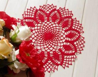 Crochet doily Red handmade cotton crochet doily Lace doily Crochet doilies Pineapple crochet doily