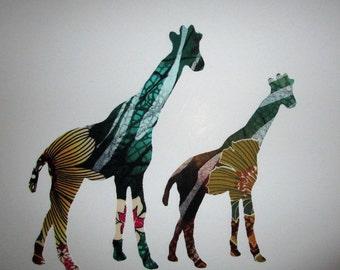 "2 Giraffe Patch 8"" Iron On Applique Patch"