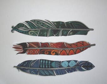 "3 Indian Feathers Patch Large 11"" Iron On"