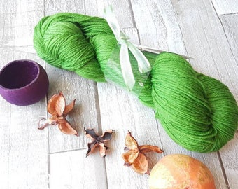 Hand dyed yarn, Green yarn,  sparkle sock yarn, Lace yarn, Aran yarn, 4ply yarn, DK yarn, Hairstreak Butterfly Colourway, UK indie dyer.