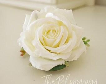 Flower clip, White rose blooms, Bridal flower clip, Silk flower hair clip,  Bridal hair clip, Decorative clip, Wedding flower clip, Filipa