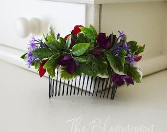 Purple cerise comb / Cerise hydrangea / Bold flower comb / Party flower comb / Bridal flower comb / Silk flower hair comb / Bridal hair comb