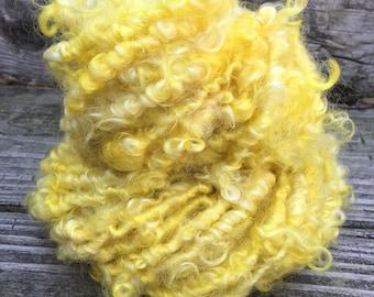 Handspun Yarn, Art Yarn, Bulky, Lockspun, Yellow, Wensleydale, Single Ply, Chunky, Lemons