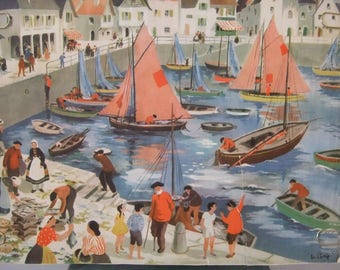 French Vintage Classroom Poster,Images of life, by Helene Poirie. Fishing Port,Mending nets.Brightly Coloured. lithograph. School Poster.