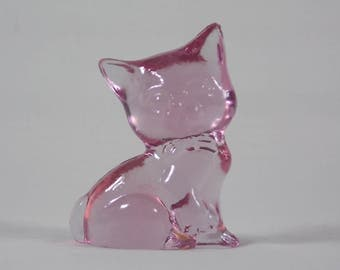 1986 Viking Glass Mini Kitten #8623 in Alexandrite Pink a Pretty Miniature Cat Sitting Proudly & Patiently Waiting for a Loving Home - SA