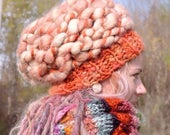 Slouchy hat woman Chunky beanie Thick knit hat Chunky crochet hat Chunky beret Warm beret Woman beanie hat Dreadlocks hat Orange SALE