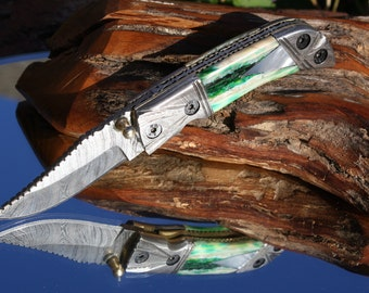 Handmade in USA Damascus Pocket Knife with Emarld Green Fossil Tooth and Mother of Pearl Handles, FREE 3-day Priority Shipping