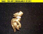vintage dog brooch, retro, vintage, goldtone pin, estate jewelry
