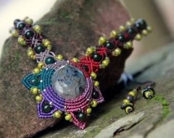 Fairy mandala macrame boho necklace with rainbow labradorite