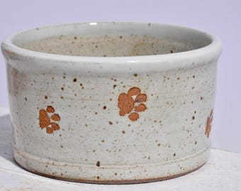 Dog Bowl, Handmade Dog Bowl, Pottery Dog Bowl, Ceramic Dog Bowls, Paw Prints