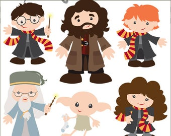 Wizards Clipart Set -Personal and Limited Commercial- Cute Wizard, Elf, Witch, School Clip art