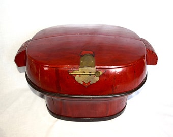 Large vintage Asian rice box…hand made Asian box with brass hardware…red box…red chest...carved handles…primitive.