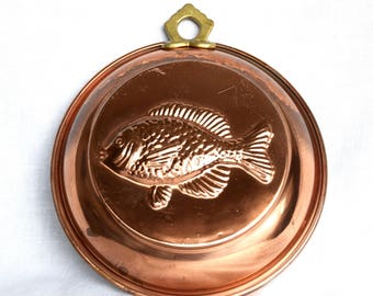 Vintage copper fish mold…hanging copper fish mold…country kitchen...French kitchen...beach house.