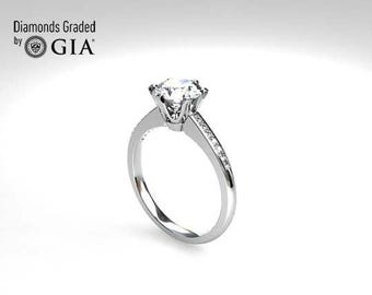 H-VS GIA-certificated Diamond ring, White gold, solitaire, engagement ring, Diamond engagement, unique, pave, vintage style, Diamond