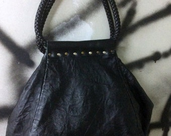 Folded Leather Bag in Black Color- Leather Bag with Leather Braided Handles and Studs