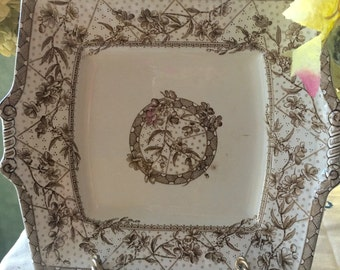Brown English Transferware Aesthetic Movement Square Platter with Handles William Grindley English Ironstone Malta Pattern 19th Century