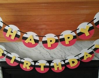 Pokemon Theme Happy Birthday Banner, Pokemon Theme Birthday Name and Age Banner,