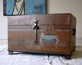 Brown Leather Covered Chest with Hand Painted Cats Mint Velvet Lined Inside-  Cats, Cats, and More Cats 1985
