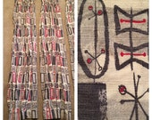 Vintage 1950s Panel Curtain Drapery Set / Red and Gray / Barkcloth / 2 Panels