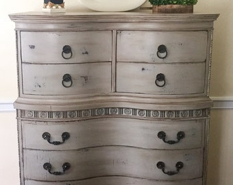 SOLD  Vintage Highboy Hand Painted Annie Sloan Farmhouse Rustic Style
