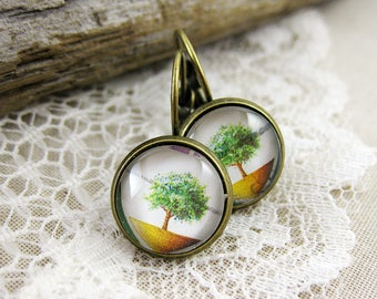 Tiny Tree Leverback Earrings, 1985 Australia Postage Stamp Jewelry, Upcycled, Nickel Free Antique Bronze, Outdoor Nature Earrings, Gift Idea