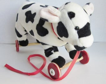 Vintage Cow Pull Toy, Plush Cow Toy, Pull A Long Toy, Black & White Cow Toy, North American Bear Co.