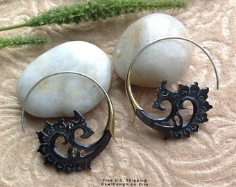 """Tribal Hanging Earrings, """"Superior's Waves"""" - Michigan - Natural, Black Mother of Pearl, Hand Carved"""