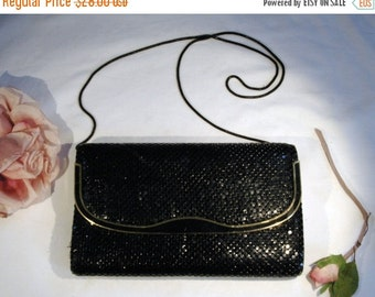 ON SALE Vintage 1960s Black Alumesh Metal Evening Bag Purse Clutch with Black Metal Flexible Handle