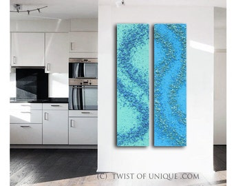 Zen Garden abstract painting / Textured abstract painting/ palette knife / 2 set of paintings / 48x12 /Blue, Seafoam, Green