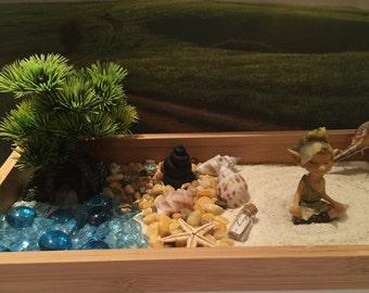 Zen garden,Turtle sensory box,sand box,handmade polymer clay rock pond,Fairy garden accessories.