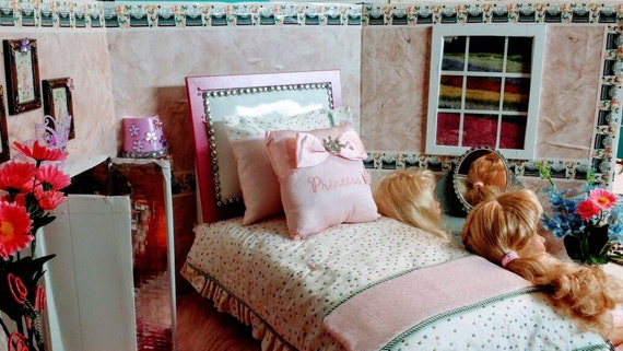 """7 Piece Luxurious Swiss-dot Embroidered Dupioni Silk bedding set for 18""""dolls like American Girl/Our Generation dolls.."""