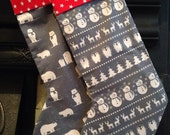 Christmas Stocking - different designs, Kids Christmas Stocking, scandi design, polar bears, penguins, snowmen