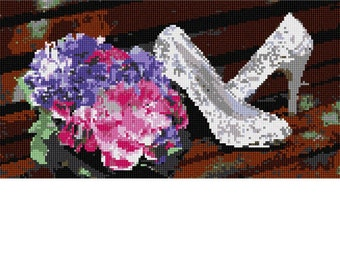 Needlepoint Kit or Canvas: Wedding Shoes Flowers