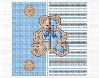 Needlepoint Kit or Canvas: Striped Teddy Blue