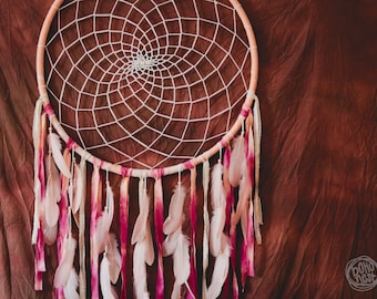 READY TO SHIP - Extra Large Dream Catcher for Home Decor - Bohemian Decoration, Tribal Decor, Dreamcatcher in Peach, Pink and Light Rose