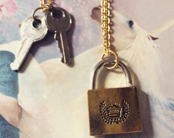 Lock and key long gold chain necklace set