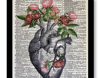 Anatomical Body, Anatomical Heart Pink Peony Flowers, Anatomical Print, Anatomical Pictures, Vintage Cardiology Heart, Dictionary Prints