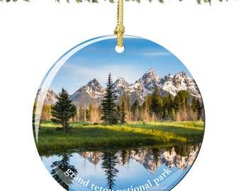 Grand Teton National Park Christmas Ornament of Wyoming in Porcelain, Double Sided 2.75 Inches